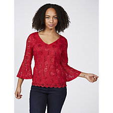 Ronni Nicole 3/4 Bell Sleeve Stretch Lace Top with Sequin Detail