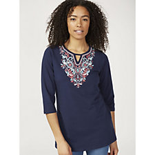 Denim & Co. Perfect Jersey Keyhole Detail 3/4 Sleeve Tunic