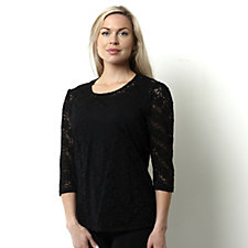 Kim & Co Rose Lace 3/4 Sleeve Ruched Shoulder Lined Top