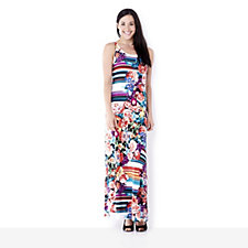 Tiana B Floral Stripe Sleeveless Maxi Dress