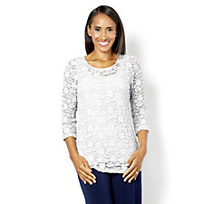 Kim & Co Victorian Lace 3/4 Sleeve Top and Sleeveless Top Set