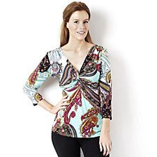 Attitudes by Renee Printed Jersey Knot Detail 3/4 Sleeve Top