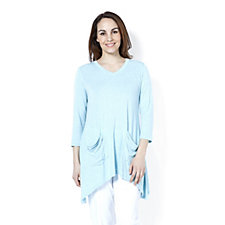 157501 - LOGO by Lori Goldstein Marled Tunic with Sharkbite Hem and Pockets
