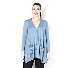 Yong Kim Knitted Button Through Cardigan with Flared Hem