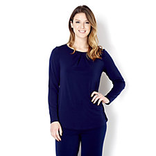 Kim & Co Brazil Knit Long Sleeve Pleat Neck Top