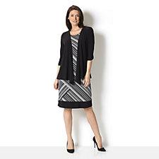 2 Piece Short Sleeve Dress & Cardigan Set by Nina Leonard