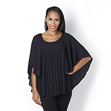 Jeanne Beker Pleated Cape Blouse