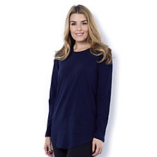 Isaac Mizrahi Live True Denim Long Sleeve Crew Neck T-Shirt