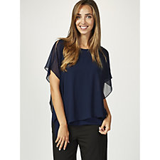 Coco Bianco Jersey Top with Chiffon Overlay