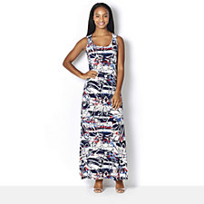 Kim & Co Brazil Knit Nautical Flowers Sleeveless Maxi Dress