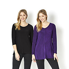 Antthony Designs Marl Print & Plain Pack of 2 Tunics