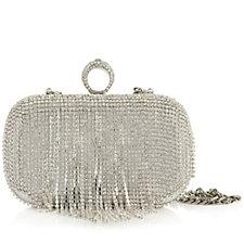 Claudia Canova Silver Tone Clutch Bag with Diamante Detail & Detachable Chain