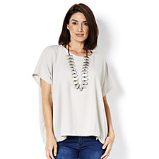 MarlaWynne Pebble Crepe Blouson Top with Drawstring