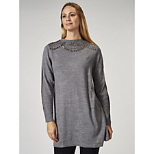 Fashion by Together Beaded Neckline Knitted Tunic