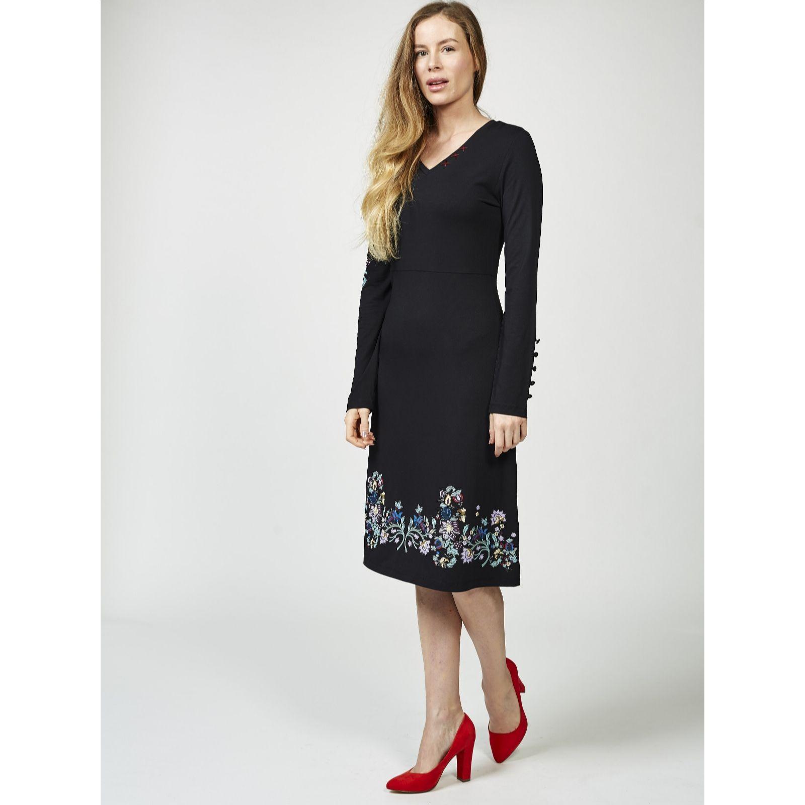 Joe Browns Women\'s Joe\'s Signature Embroidered Knit Long Sleeve Dress B06XDKTB2W