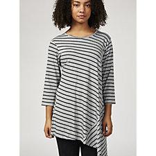 Grace 3/4 Sleeve Stripe Print Tunic with Asymmetric Hem