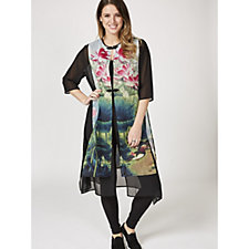 Butler & Wilson Flower Print Flying Front Chiffon Long Jacket