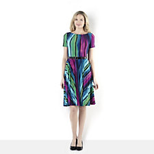 Short Sleeve Print Dress with Circle Skirt & Belt by Nina Leonard
