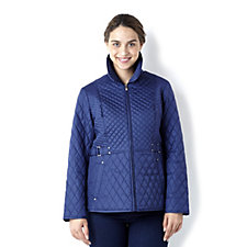 Centigrade Zip Front Light Quilted Jacket with  Print Detail