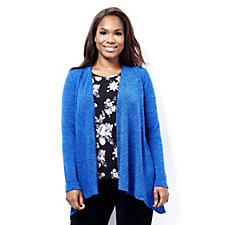Kim & Co Mirage Knit Cascading Front Edge To Edge Cardigan