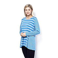 157502 - LOGO by Lori Goldstein Stripe Sweater Knit Tunic Top