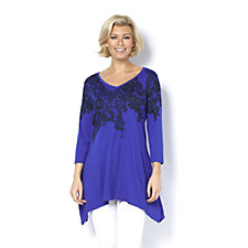 Fashion by Together Lace Placement Print Asymmetric Tunic