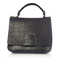 Orla Kiely Sixties Stem Punched Leather Ivy Bag