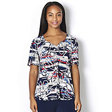 Kim & Co Brazil Knit Nautical Flowers Short Sleeve Ruched Neck Top