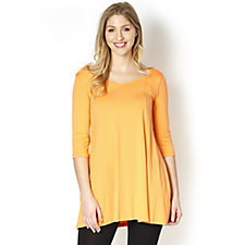 Join Clothes 3/4 Sleeve Tunic with V Neck Front and Back