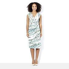 Nick Verreos Printed Jersey Dress with Asymmetric Hem