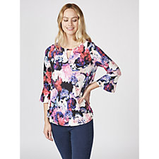 Together Keyhole Top with Fluted Sleeves