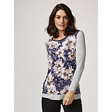 Long Sleeve Printed Top with Back Lace Detail by Nina Leonard