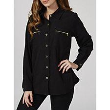 Bob Mackie Long Sleeve Shirt Collar Jacket