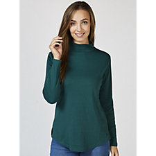 Isaac Mizrahi Live Essentials Long Sleeve Mock Neck T Shirt