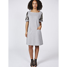 Ronni Nicole Short Sleeve Shift Dress with Sequined Sleeves