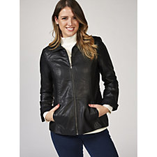 Denim & Co. Faux Leather Zip Front Jacket