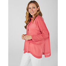 WynneLayers Dolman Sleeve Popover Shirt with Front Pleat