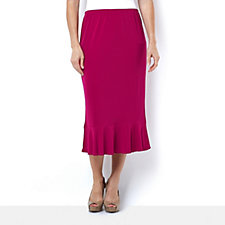 Fluid Jersey Long Skirt with Frill Hem by Michele Hope
