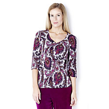127303 - Kim & Co Sparkle Paisley Brazil Knit 3/4 Sleeve Top