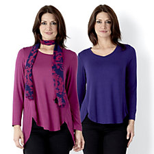 Antthony Designs Pack of 2 Long Sleeve Tunics & Scarf Set