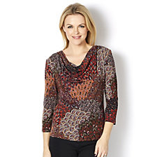 Coco Bianco Printed Cowl Neck Top
