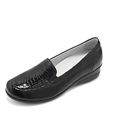 Vitaform Stretch and Patent Leather Loafer with Wedge Heel