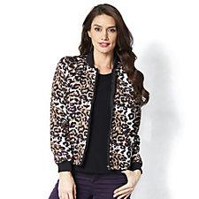 Helene Berman Leopard Print Bomber Jacket