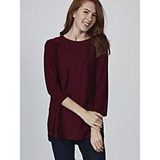 3/4 Sleeve Swiss Dot Knit Tunic with Curved Hem by Nina Leonard