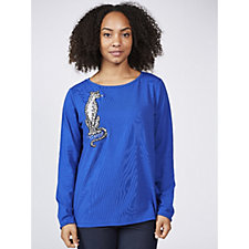 Bob Mackie Long Sleeve Jersey Top with Embroidered Leopard Detail
