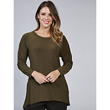 Long Sleeve Zip Detail Dropped Shoulder Tunic by Nina Leonard