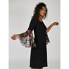 Coco Bianco Jersey Swing Dress with Flared Chiffon Embroidered Sleeve