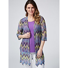 Chevron Novelty Knit Cardigan & Knit Tank Set by Susan Graver