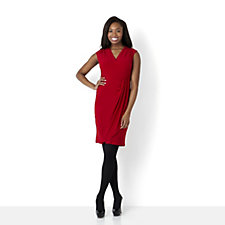 Ronni Nicole 'O So Slim' Cap Sleeve Dress with Drape Skirt