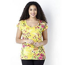 Isaac Mizrahi Live Floral Printed Scoop Neck T-shirt